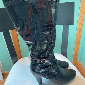 Faux leather high heeled boots